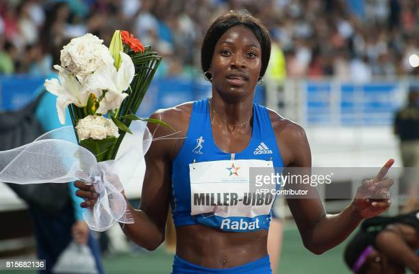 Bahamas' Shaunae MillerUibo reacts after winning the 400m race at the IAAF Diamond League Mohammed VI Athletics meeting in Rabat on July 16 2017 /...