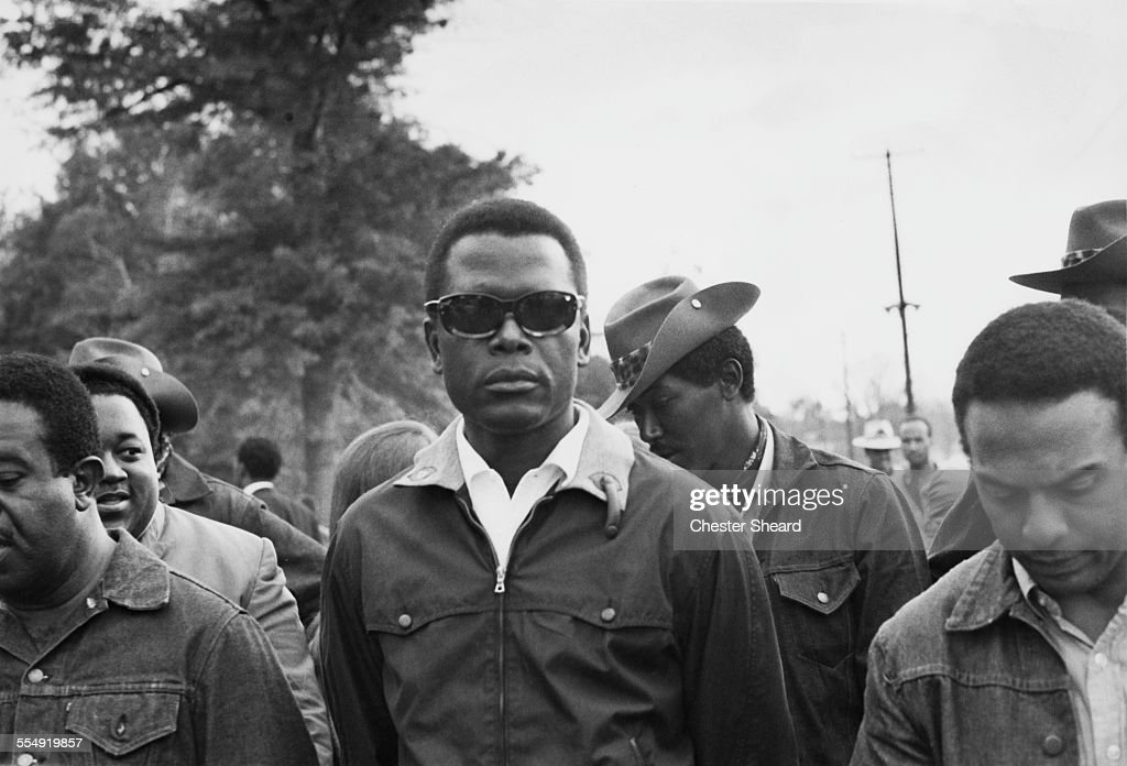 BahamianAmerican actor and civil rights activist Sidney Poitier suporting the Poor People's Campaign at Resurrection City a shantytown set up by...