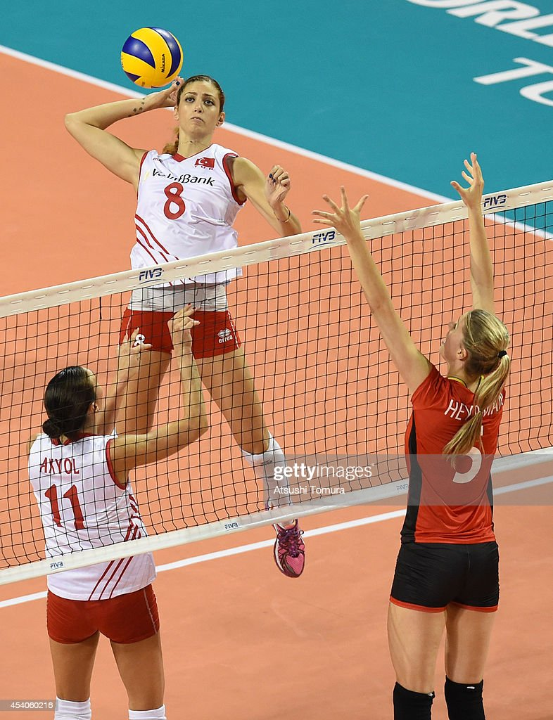 Bahar Toksoy Guidetti of Turkey spikes the ball during the FIVB World Grand Prix Final group one match between Turkey and Belgium on August 24, 2014 in Tokyo, Japan.