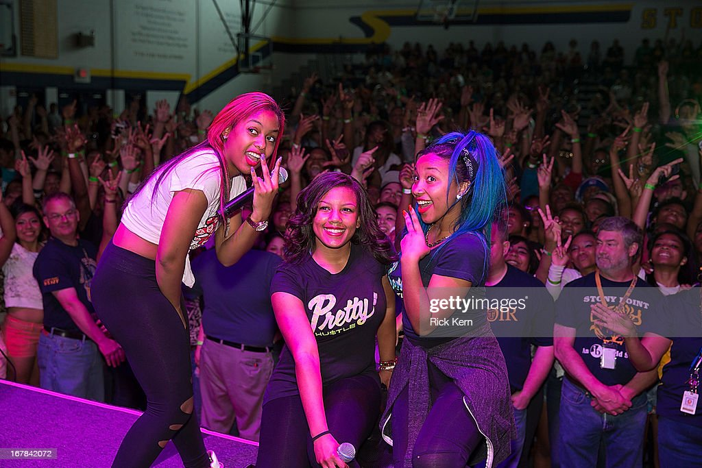 Bahja Rodriguez aka Miss Beauty, Breaunna Womack aka Miss Babydoll, and Zonnique Pullins aka Miss Star of the OMG Girlz pose during the Get Schooled Victory Tour at Stony Point High School on April 30, 2013 in Round Rock, Texas.