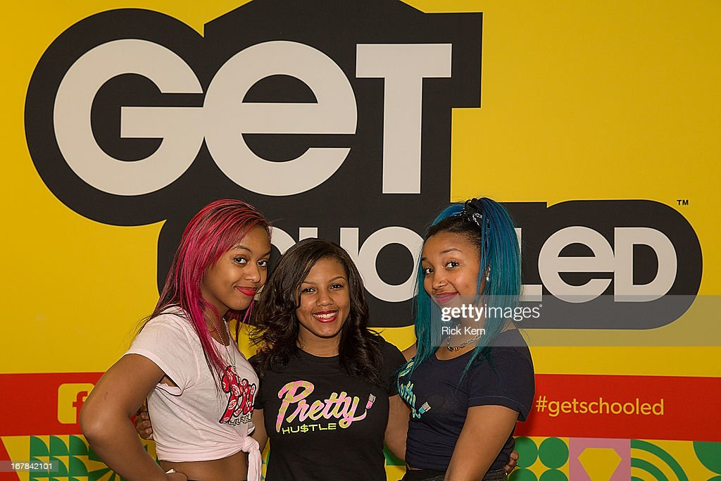 Bahja Rodriguez aka Miss Beauty, Breaunna Womack aka Miss Babydoll, and Zonnique Pullins aka Miss Star of the OMG Girlz pose during their visit to Round Rock, Texas with the Get Schooled Victory Tour at Stony Point High School on April 30, 2013 in Round Rock, Texas.