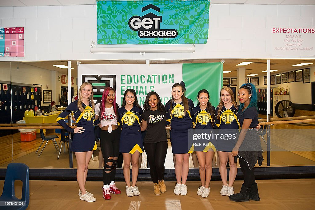 Bahja Rodriguez aka Miss Beauty, Breaunna Womack aka Miss Babydoll, and Zonnique Pullins aka Miss Star of the OMG Girlz visit Round Rock, Texas students with the Get Schooled Victory Tour at Stony Point High School on April 30, 2013 in Round Rock, Texas.