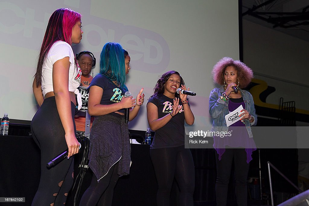 Bahja Rodriguez aka Miss Beauty, Zonnique Pullins aka Miss Star, Breaunna Womack aka Miss Babydoll of the OMG Girlz, and television personality Amanda Seales visit Round Rock, Texas students with the Get Schooled Victory Tour at Stony Point High School on April 30, 2013 in Round Rock, Texas.