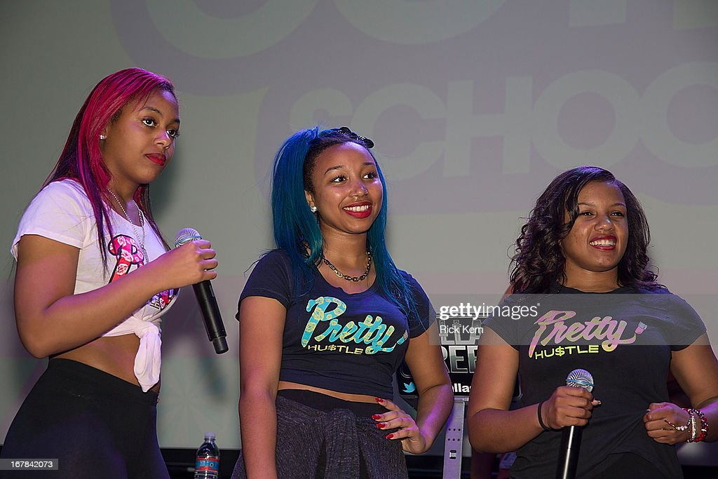 Bahja Rodriguez aka Miss Beauty, Zonnique Pullins aka Miss Star, and Breaunna Womack aka Miss Babydoll of the OMG Girlz visit Round Rock, Texas students with the Get Schooled Victory Tour at Stony Point High School on April 30, 2013 in Round Rock, Texas.