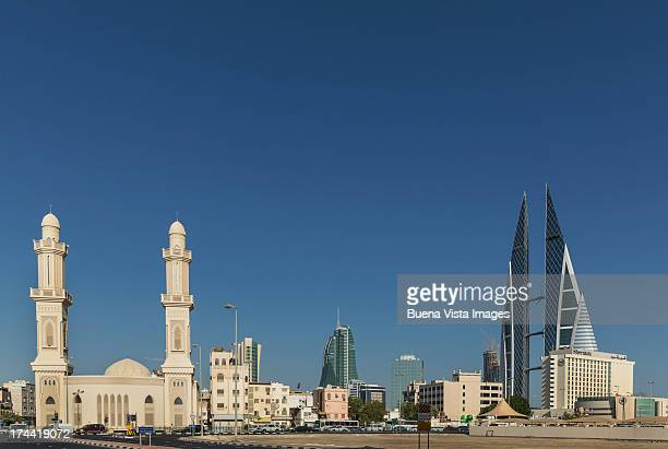 Bahrain. Manama. Mosque and Bahrain world trade ce