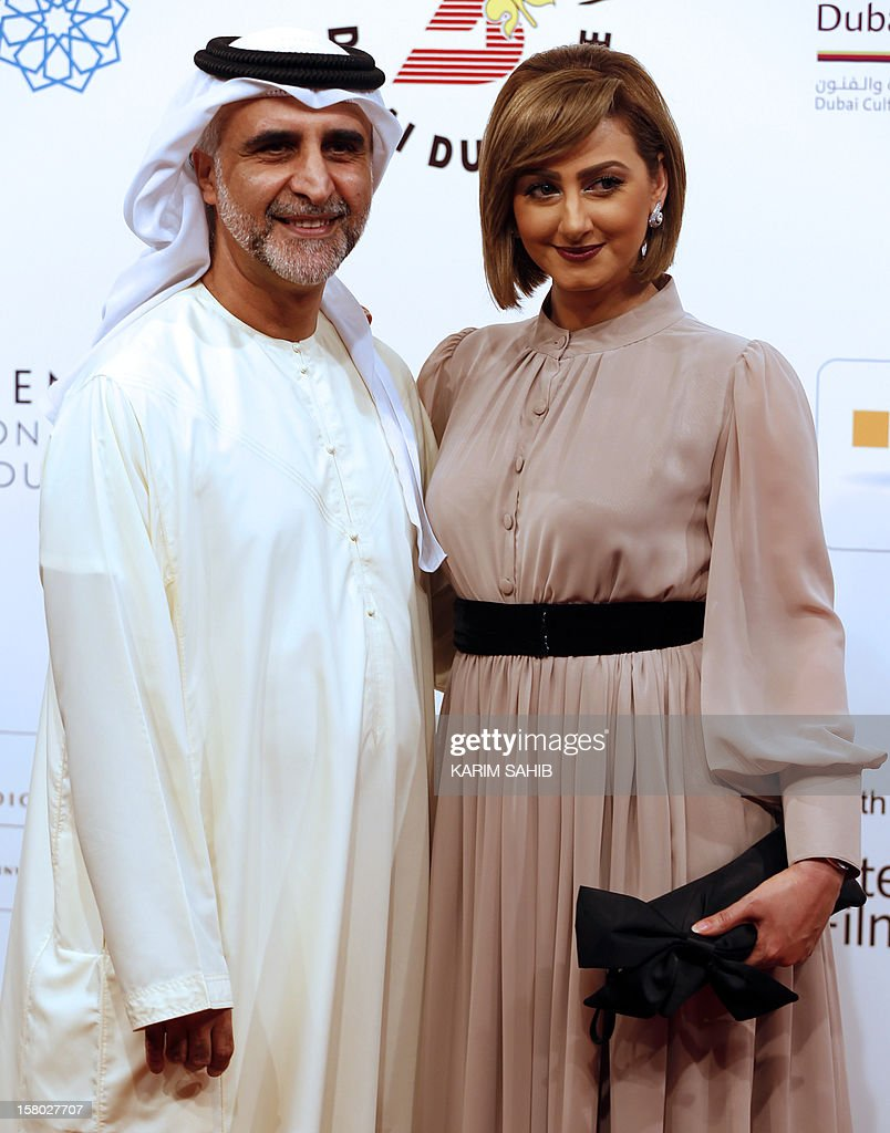 Bahraini actress Haifa Hussein poses for a picture with her husband, fellow actor Habib Ghallum during the Dubai International Film Festival in the Gulf emirate of Dubai, on December 9, 2012. AFP PHOTO/KARIM SAHIB