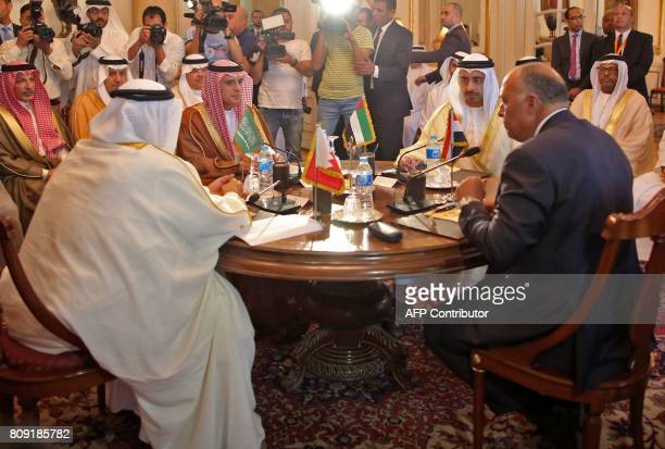 Bahraini Foreign Minister Khalid bin Ahmed alKhalifa Saudi Foreign Minister Adel alJubeir UAE Minister of Foreign Affairs and International...