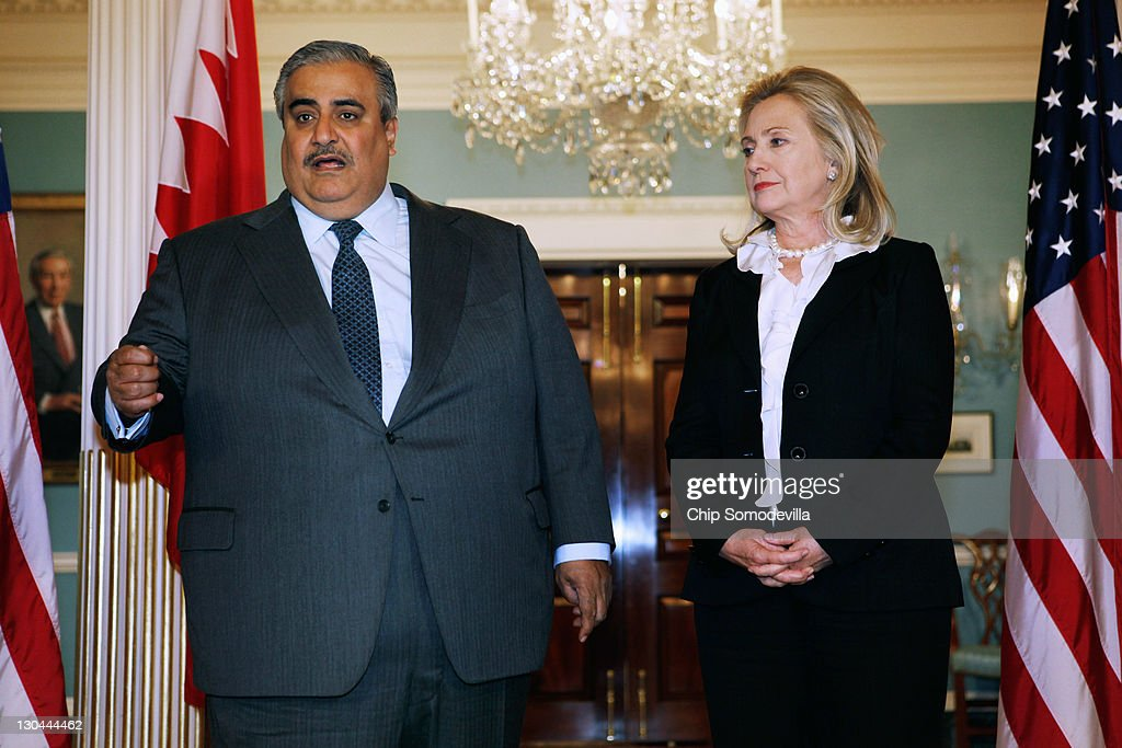 Bahraini Foreign Minister Shaikh Khalid bin Ahmed al-Khalifa (L) and U.S. Secretary of State <a gi-track='captionPersonalityLinkClicked' href=/galleries/search?phrase=Hillary+Clinton&family=editorial&specificpeople=76480 ng-click='$event.stopPropagation()'>Hillary Clinton</a> leave make brief remarks to the press in the Treaty Room before bilaterial meetings at the Department of State October 26, 2011 in Washington, DC. Earlier this year, the Bahrain monarchy of King Hamad violently put down pro-democracy demonstrations inspired by the Arab Spring, a revolutionary wave of protests in the Middle East and North Africa.