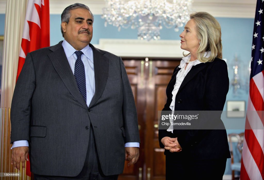 Bahraini Foreign Minister Shaikh Khalid bin Ahmed al-Khalifa (L) and U.S. Secretary of State <a gi-track='captionPersonalityLinkClicked' href=/galleries/search?phrase=Hillary+Clinton&family=editorial&specificpeople=76480 ng-click='$event.stopPropagation()'>Hillary Clinton</a> make brief remarks to the press in the Treaty Room before bilaterial meetings at the Department of State October 26, 2011 in Washington, DC. Earlier this year, the Bahrain monarchy of King Hamad violently put down pro-democracy demonstrations inspired by the Arab Spring, a revolutionary wave of protests in the Middle East and North Africa.