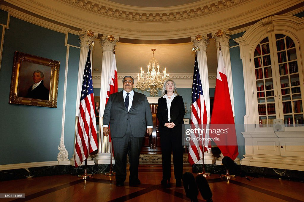 Bahraini Foreign Minister Shaikh Khalid bin Ahmed al-Khalifa (L) and U.S. Secretary of State <a gi-track='captionPersonalityLinkClicked' href=/galleries/search?phrase=Hillary+Clinton&family=editorial&specificpeople=76480 ng-click='$event.stopPropagation()'>Hillary Clinton</a> make brief remarks in the Treaty Room before bilaterial meetings at the Department of State October 26, 2011 in Washington, DC. Earlier this year, the Bahrain monarchy of King Hamad violently put down pro-democracy demonstrations inspired by the Arab Spring, a revolutionary wave of protests in the Middle East and North Africa.