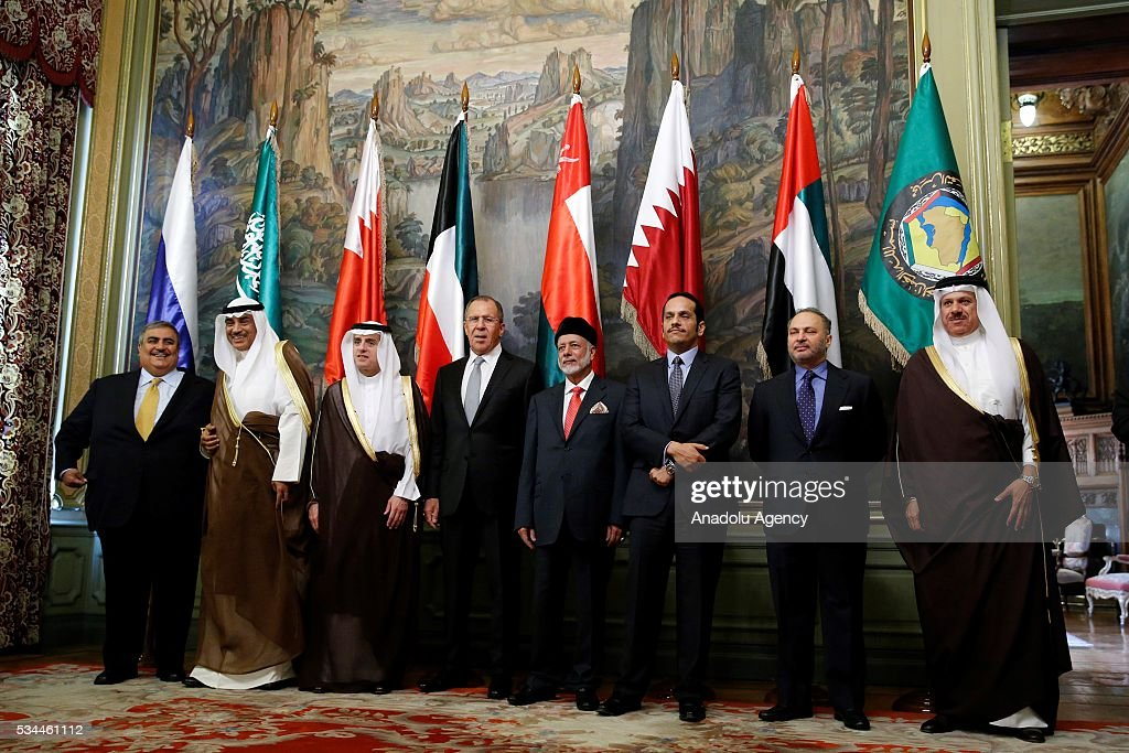 Bahraini Foreign Minister Sheikh Khalid bin Ahmed al-Khalifa (L) , Kuwait's Foreign Minister Sheikh Sabah al Khalid al Sabah (2nd L) , Saudi Arabian Foreign Minister Adel al-Jubeir (3nd L) , Russian Foreign Minister Sergei Lavrov (4 th L) , Oman's Foreign Minister Yusuf bin Alawi bin Abdullah (4th R) , Qatar's Foreign Minister Mohammed bin Abdulrahman bin Jassim al -Thani (3nd R) , UAE Minister of State for Foreign Affairs Anwar Gargash (2nd R) and Secretary-General of the Gulf Cooperation Council (GCC) Abdullatif bin Rashid Al Zayani (R) pose during the family photo of the Russia-Gulf Cooperation Council Strategic Dialogue Ministerial Meeting at the Russian Foreign Ministry's guest house in Moscow, Russia on May 26, 2016.