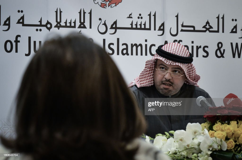 Bahraini Justice Minister Sheikh Khaled bin Ali al-Khalifa speaks during a press conference on February 4, 2013 in the Bahraini capital Manama. Sheikh Khaled bin Ali al-Khalifa announced that national talks aimed to end the kingdom's political stalemate will resume on February 10, 2013 after an earlier round failed to bring the opposition onboard. AFP PHOTO/MOHAMMED AL-SHAIKH