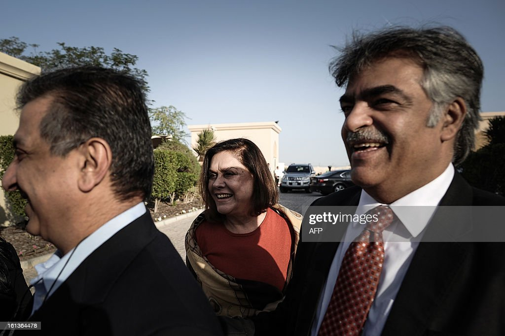 Bahraini opposition representatives, Abdullah Janahi (L), Munira Fakhro (C) and Hafedh Hafedh (R) attend the National Dialogue in al-Areen Palace Hotel in Zallaq, South of Manama, on February 10, 2013. Bahrain's key political players began a new round of talks on Sunday to try to resolve the kingdom's two-year crisis, after opposition groups made a last-minute decision to join a national dialogue. AFP PHOTO/MOHAMMED AL-SHAIKH