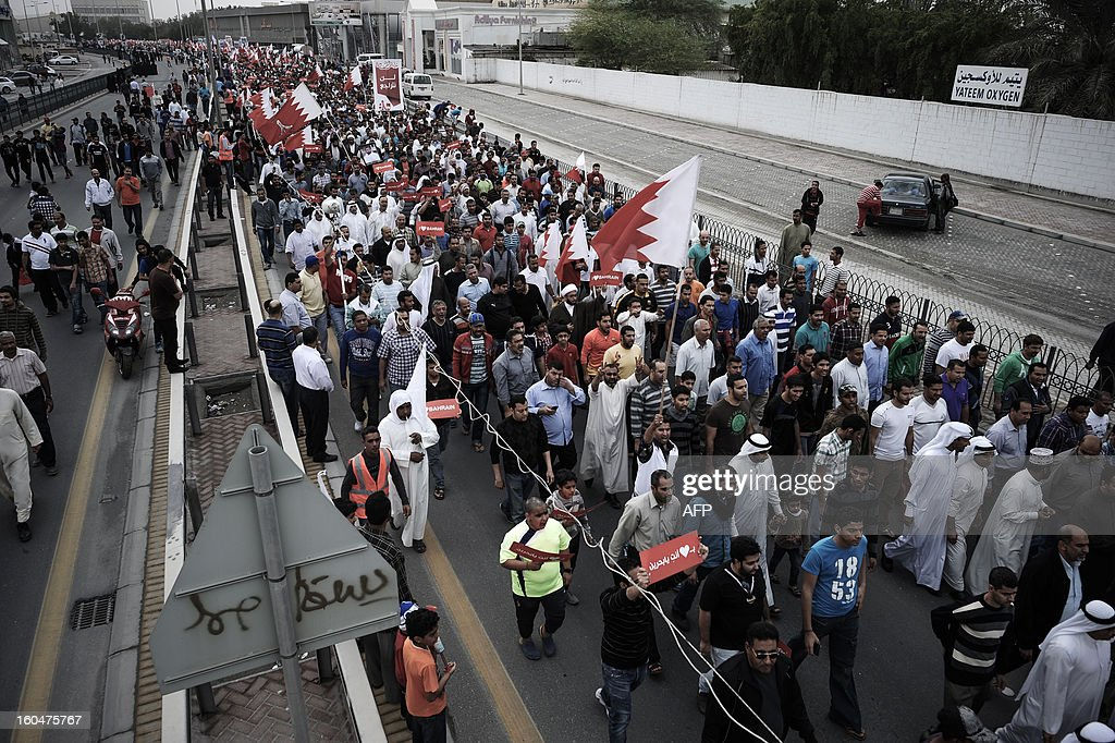 Bahraini Shiite Muslim protesters march during an anti-government demonstration in the village of South Sehla, south of Manama, on February 1, 2013. The Gulf state has been shaken by unrest since its forces in March 2011 crushed a month of popular Shiite-led protests demanding greater rights and an end to what they said was discrimination by the Sunni royals.