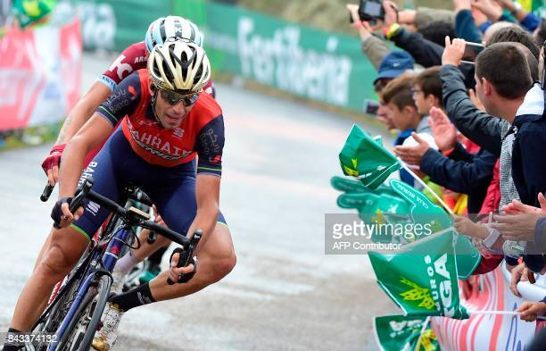 BahrainMerida's Italian cyclist Vicenzo Nibali crosses the finish line of the 17th stage of the 72nd edition of 'La Vuelta' Tour of Spain cycling...