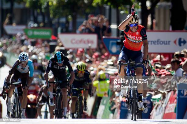 TOPSHOT BahrainMerida's Italian cyclist Vincenzo Nibali celebrates as he crosses the finish line to win the 3rd stage of the 72nd edition of 'La...