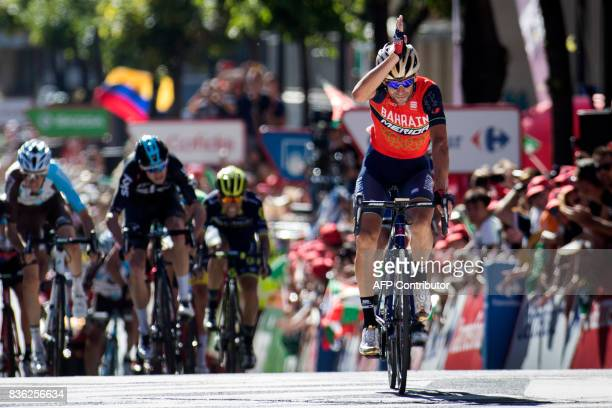 BahrainMerida's Italian cyclist Vincenzo Nibali celebrates as he crosses the finish line to win the 3rd stage of the 72nd edition of 'La Vuelta' Tour...