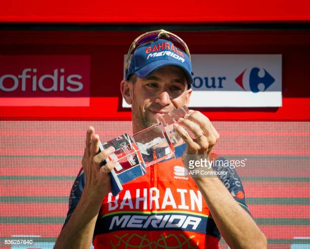 BahrainMerida's Italian cyclist Vincenzo Nibali celebrates on the podium after winning the 3rd stage of the 72nd edition of 'La Vuelta' Tour of Spain...