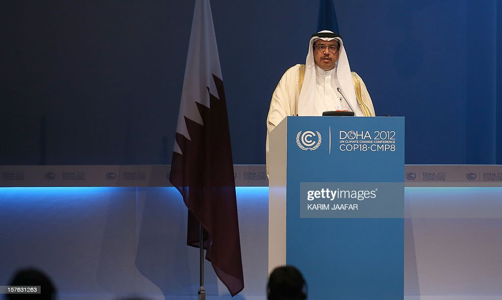Bahrain's Minister of Municipality Ahmed Alkaabi, addresses delegates at the UN climate talks in Doha, on December 5, 2012. The leaders and delegates are aiming to seal an interim pact by December 7 on reducing Earth-warming greenhouse gas emissions. AFP PHOTO /KARIM JAAFAR / AL-WATAN DOHA == QATAR OUT ==