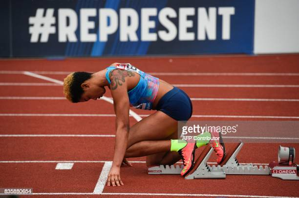 Bahrain's Salwa Eid Naser settles into the blocks to compete in the women's 400m during the 2017 IAAF Birmingham Diamond League athletics meeting at...