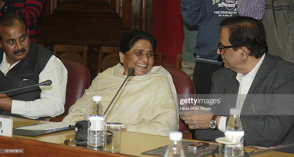Bahujan Samaj Party (BSP) chief and former Uttar Pradesh chief minister Mayawati and other party leaders attending all party meeting on to break the deadlock on Foreign Direct Investment issue during the Parliament winter session on November 26, 2012 in New Delhi, India. Main opposition party BJP wants debate under rule 184 which has provision of vote but government wants the speaker to decide on debate rules.