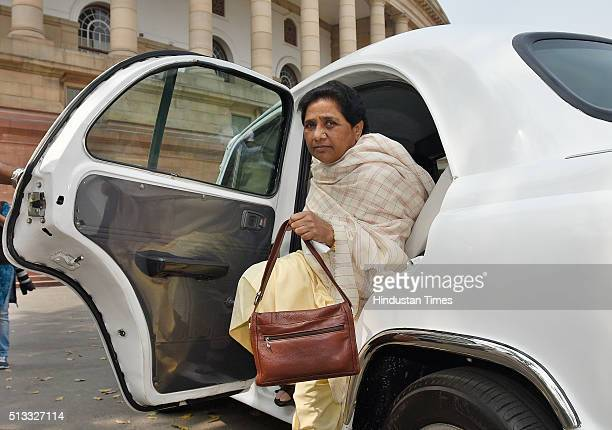 Bahujan Samaj Party Chief and Rajya Sabha MP Mayawati arrives at Parliament to attend the Parliament Budget Session on March 2 2016 in New Delhi...