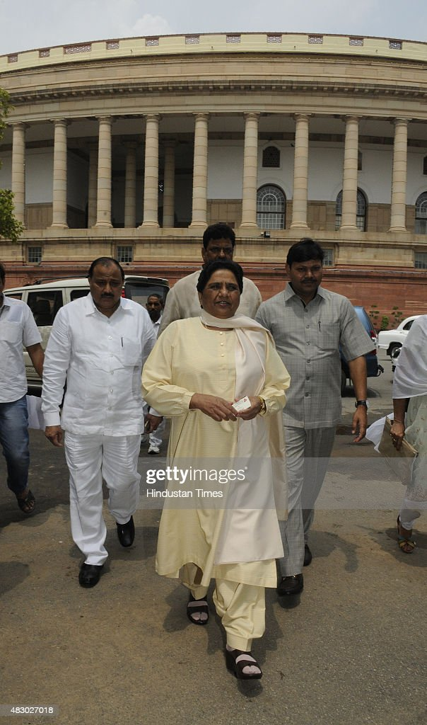 Bahujan Samaj Party (BSP) Chief Mayawati after attending the Parliament Monsoon Session on August 5, 2015 in New Delhi, India. Congress and some opposition parties on Wednesday persisted with their protest against the suspension of 25 MPs as the stalemate in the Rajya Sabha continued over the opposition demand for the resignations of three BJP leaders.