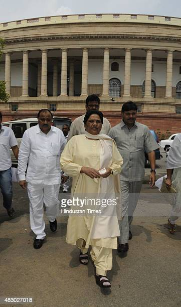Bahujan Samaj Party Chief Mayawati after attending the Parliament Monsoon Session on August 5 2015 in New Delhi India Congress and some opposition...