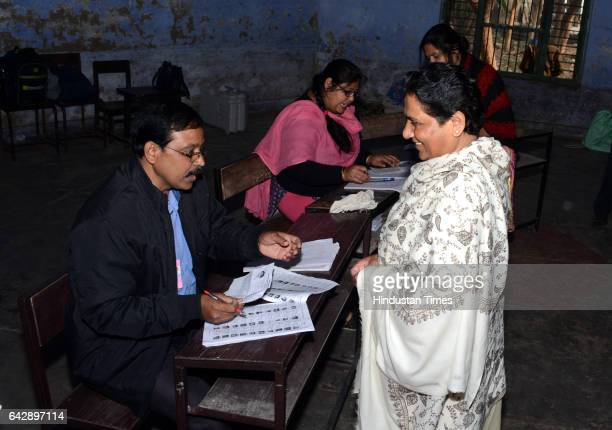 Bahujan Samaj Party Chief Mayawati after casting her vote at Lucknow Mont Inter College Purana Qila on February 19 2017 in Lucknow India The third...