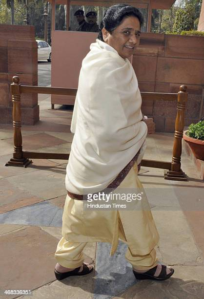 Bahujan Samaj Party chief Mayawati arrives to attend ongoing Parliament extended winter session at Parliament house on February 10 2014 in New Delhi...