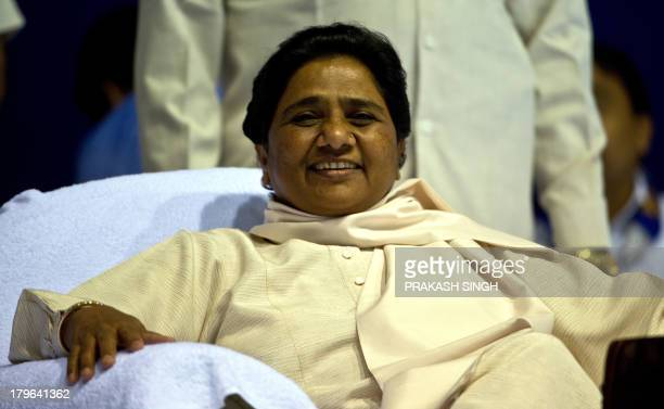Bahujan Samaj Party President Mayawati gestures during a meeting with party workers in New Delhi on September 6 2013 Mayawati told journalists the...