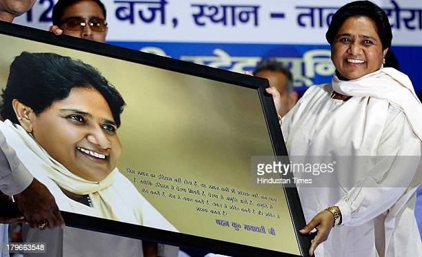 Bahujan Samaj Party President Mayawati gestures during a meeting with party workers on September 6 2013 in New Delhi India Mayawati said Bahujan...