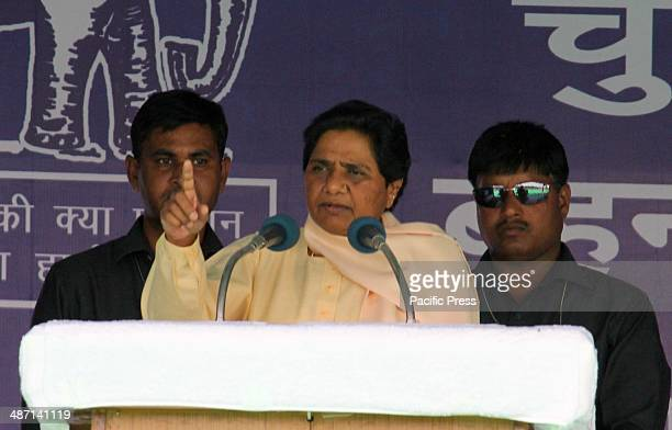 Bahujan Samaj Party supremo Mayawati addressing party supporters during an election campaign rally in Allahabad India is conducting its national...