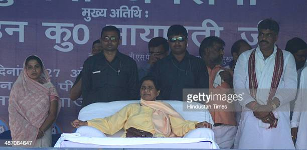 Bahujan Samaj Party supremo Mayawati during a public meeting at KP college ground on April 27 2014 in Allahabad India During a public meeting...