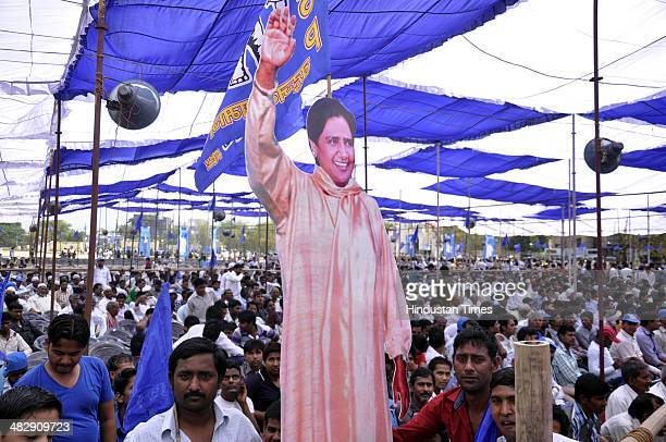 Bahujan Samaj Party workers and supporters during an election campaign rally of Mayawati at Kavi Nagar ramlila ground on April 5 2014 in Ghaziabad...