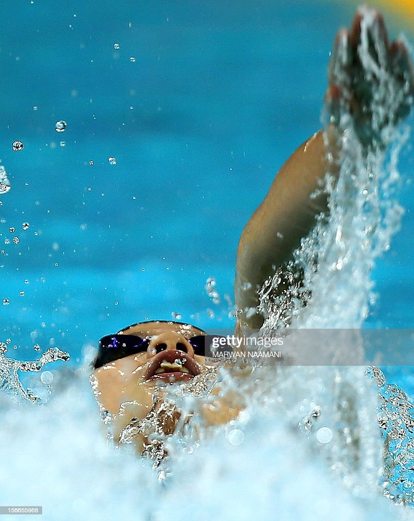 Bai Anqi of China competes to win the Women's 200m backstroke final during the 9th Asian Swimming Championships in Dubai, on November 18, 2012.