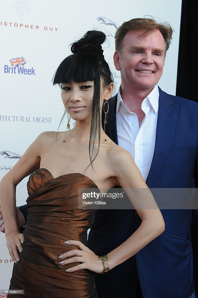 Bai Ling and Christopher Guy attend British luxury furnishings designer Christopher Guy presents BritWeek design icon award to design director of Jaguar Ian Callum at Christopher Guy West Hollywood Showroom on April 26, 2013 in West Hollywood, California.