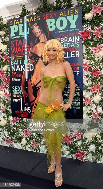 Bai Ling during Playboy Magazine Introduces 2005 Playmate of the Year Tiffany Fallon at Playboy Mansion in Los Angeles California United States