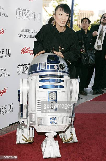 Bai Ling with R2D2 during 'Star Wars Episode III Revenge of The Sith' Premiere to Benefit Artists for a New South Africa Charity Arrivals at Mann...