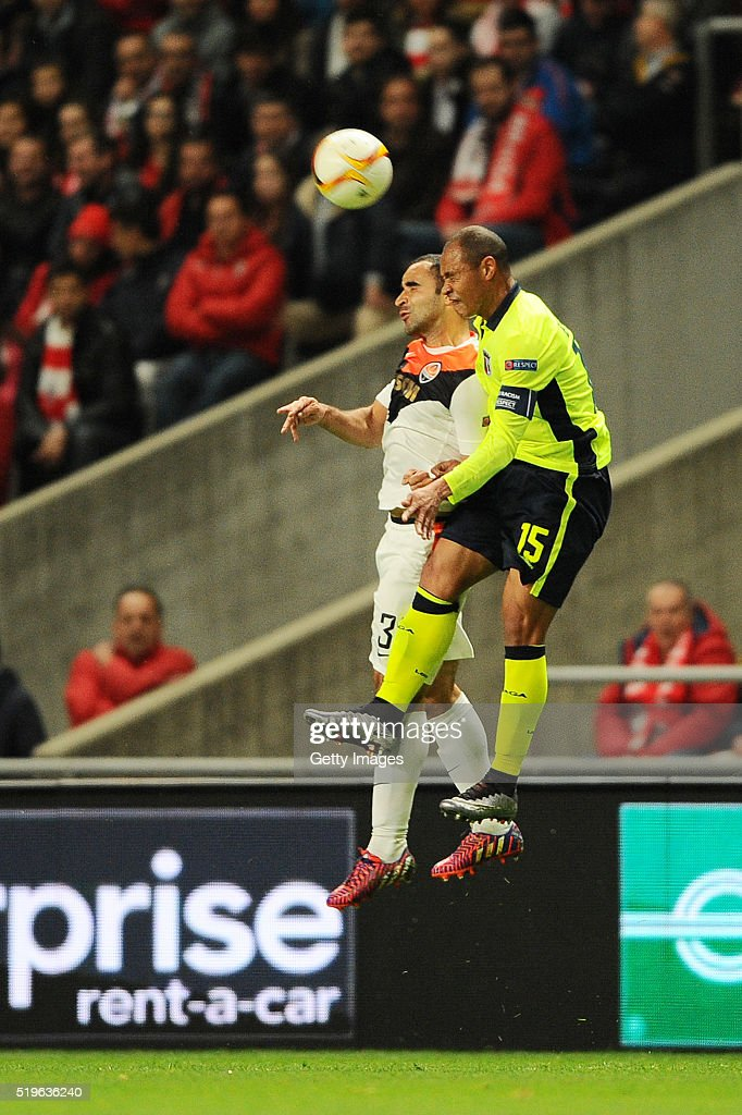 Baiano of SC Braga challenges Ismaily of Shakhtar Donetsk during the UEFA Europa League Quarter Final first leg match between SC Braga and Shakhtar...