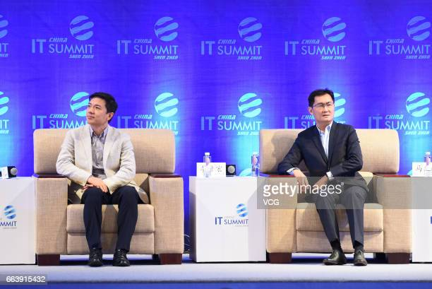 Baidu CEO Robin Li Yanhong and Tencent CEO Pony Ma Huateng attend the China IT Summit 2017 at Shenzhen Wuzhou Guest House on April 2 2017 in Shenzhen...