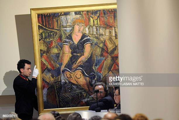 'Baigneuse' a painting by French Raoul Dufy is shown during the auction of the pieces of a modern art collection of French director and actor Gerard...