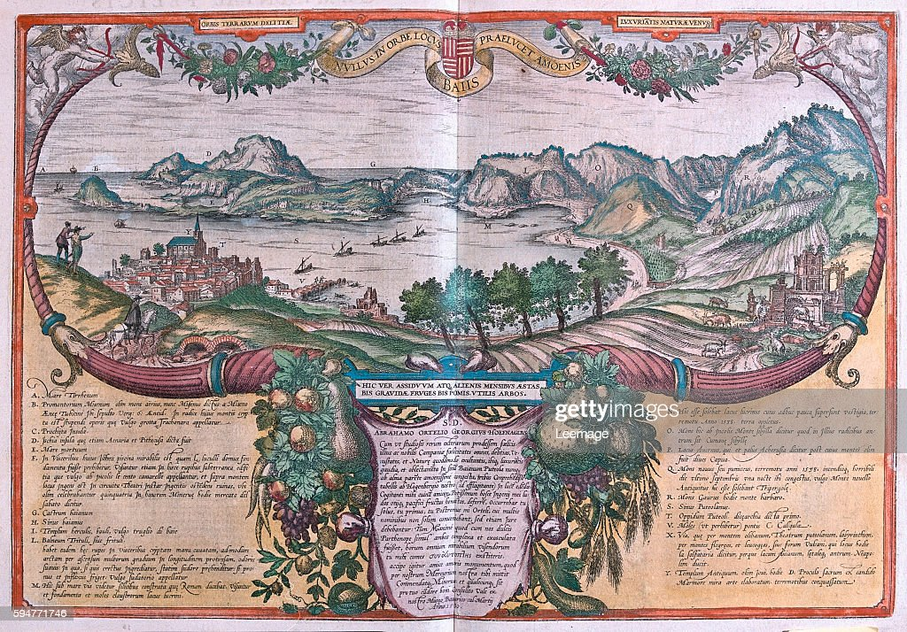 Baiis Gulf of Baia Ischia and Pozzuoli Italy in 'Civitates Orbis Terrarum' published in six parts between 1572 and 1617 by Georg Braun and Frans...
