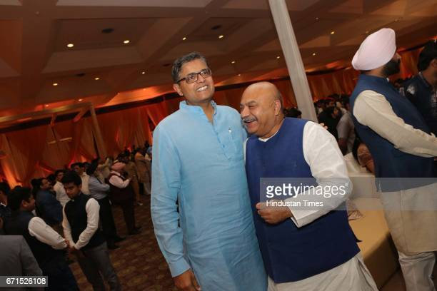 Baijayant Jay Panda and BJP leader Sudhanshu Mittal during the wedding reception of INLD MP Dushyant Chautala with Meghna Ahlawat at Ashoka Hotel on...