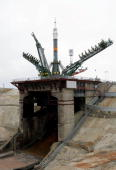 The 'SoyuzTMA 10' rocket is installed at a launch pad in Baikonur Cosmodrome 05 April 2007 The new crew are due to blast off from Kazakhstan's...