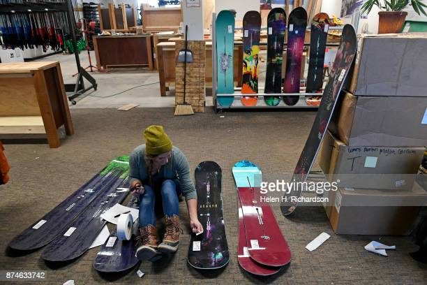 NEDERLAND CO NOVEMBER 9 Bailey Eddy lead in rentals and retail preparea last year's snowboards to be put into an early season sale inside of Timbers...