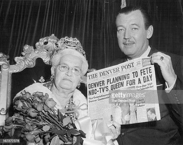 JAN 13 1959 Bailey Jack 4p Headline Tells The Story Jack Bailey host of NBCTV's 'Queen for a Day' holds up a mockup of the Denver Post which informs...