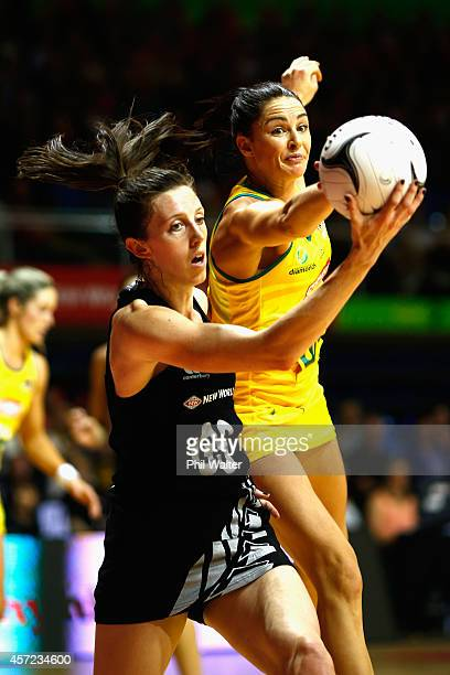 Bailey Mes of New Zealand and Sharni Layton of Australia compete for the ball during the International Test match between the New Zealand Silver...