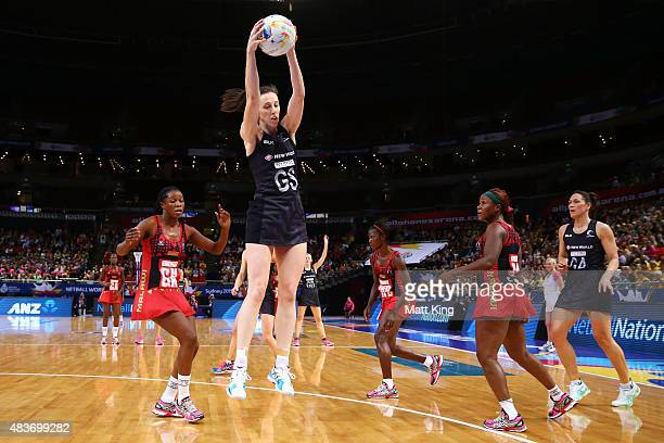 Bailey Mes of New Zealand catches the ball during the 2015 Netball World Cup Qualification round match between New Zealand and Malawi at Allphones...