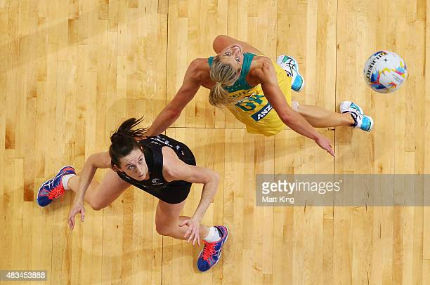 Bailey Mes of New Zealand competes with Laura Geitz of the Diamonds during the 2015 Netball World Cup match between Australia and New Zealand at...